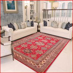 Fine Tribal Kazak Red Navy Wool Rug 19005