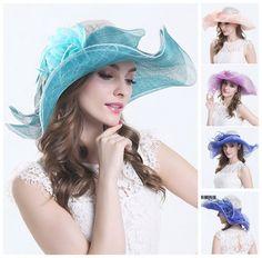 Women Bridal Wedding Church Derby Hat Fascinator Flower Large Brim Beach Sun Hat