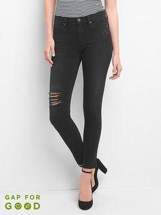5088a64fe30fd Gap Womens Mid Rise Destructed 360 Stretch True Skinny Jeans Worn Black 10  Item Wardrobe