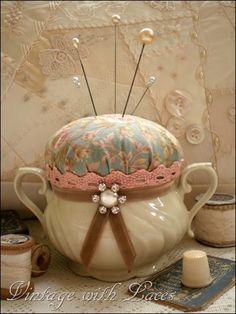 Tea cup, Creamer....? Pin Cushion