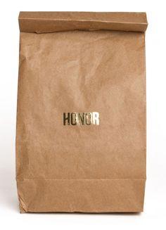 Love the contrast, rich gold on plain paper bag