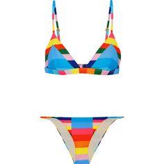 Mara Hoffman Vela striped triangle bikini ($205) ❤ liked on Polyvore featuring swimwear, bikinis, light blue, bikini beachwear, print swimwear, bikini swimwear, triangle swim wear and mara hoffman swimwear