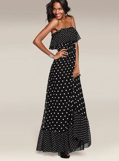 Strapless Maxi Dress. Not a good place for a ruffle. I feel like this would only look good on super skinny people, like the model.