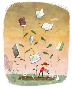 The Book Garden — Lee White Illustration Book Illustration, Illustrations, Lovers Art, Book Lovers, Lee White, Visual Metaphor, Book Wall, Reading Art, Book Drawing
