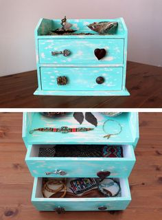 DIY jewelry box made out of old broken jewelry!