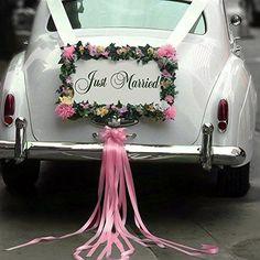 Wooden Just Married Wedding Car Decoration Sign, Wedding Photo Prop , White #ZMTC
