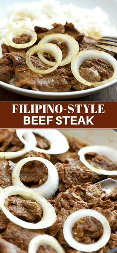 Filipino-style beef steak is hearty tasty and perfect with steamed rice. Braised in citrus soy sauce onions and garlic it's a guaranteed family favorite! Beef Recipes, Cooking Recipes, Filipino Beef Steak Recipes, Fish Recipes, Drink Recipes, Vegetarian Recipes, Crispy Oven Fried Chicken, Filipino Dishes, Party