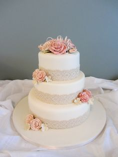 Antique lace wedding cake. Alternative to ribbon.                                                                                                                                                                                 More