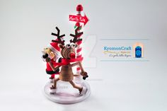 Santa Claus and Rudolph are skating on ice by kyomoncraft on DeviantArt