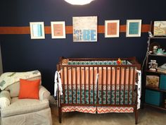 Project Nursery - Navy and Red Boy Nursery Crib and Glider
