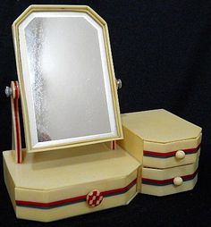 Art Deco Bakelite Dollhouse Dresser with Swing Mirror from foxandhounds on Ruby Lane