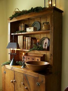 Love this cupboard with greenery!                                               ****