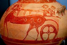 Chariot scene from a krater fragment, Mycenae.14-13 cent. BC, glaze paint.