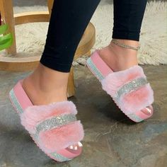 Cute Sandals, Cute Shoes, Me Too Shoes, Pretty Sandals, Summer Sandals, Shoes Heels Wedges, Flats, Fluffy Shoes, Fuzzy Slippers