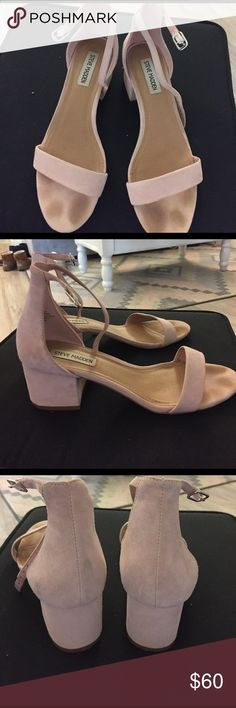 Steve Madden Irenee pink suede Light pink. Such a cute color. A little bit of wear and smearing. Suede. Stains from toes region Steve Madden Shoes Heels