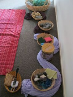 I like the way this is set out - simple yet inviting; infant learning environment reggio - Google Search