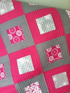"""Crafty Garden Mom: F.O.- Pink & Gray Baby Quilt She used 3.5"""" squares and 3.5"""" and 6.5"""" strips.  Further calculations will have to be made."""