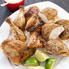 Peruvian Roast Chicken with Garlic and Lime Recipe. I butterflied the chicken and roasted it at 450 for 45 min to shorten the cooking time, which worked great!