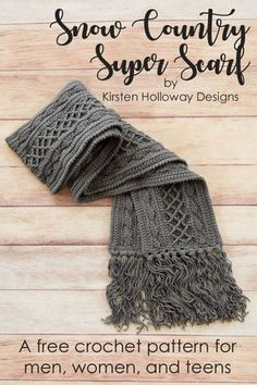 Crochet Super Scarf: Free Pattern Snow Country Super Scarf, Free Unisex Crochet Pattern in With Love yarn from Kirsten Holloway Designs. Wrap yourself, your kids or your spouse up in this luxurious super scarf this winter. Crochet Shawl, Crochet Stitches, Crocheted Scarf, Crochet Scarves For Men, Crochet Man Scarf, Annie's Crochet, Knitting Scarves, Crochet Beanie, Crochet Granny