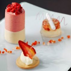 strawberry shortcake, strawberry champagne jelly and chilled white chocolate and frais de bois soufflé