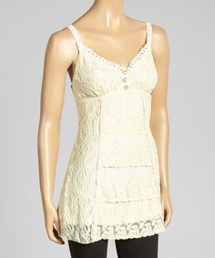 Look at this #zulilyfind! Cream Lace Silk-Blend Tank by Pretty Angel #zulilyfinds $26.99 reg $71.00