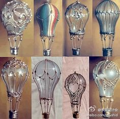 Glass mini hot air baloons made from light bulbs, metallic type paint and jewelry wire.