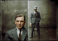 Mugshot from the New South Wales, AU police department - William Stanley Moore, May 1, 1925. Coloured B&W