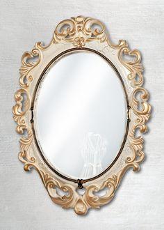Овальное «Винтажное» зеркало Слоновая кость Золото Кракелюр