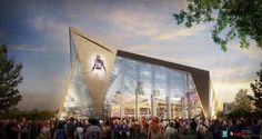 Minnesota Vikings football team unveiled renders of a new stadium designed by HKS that will replace the existing Metrodome in Minneapolis Minnesota Vikings Football, Nfl Stadiums, Super Bowl, Football Mexicano, Viking S, Twin Cities, Worlds Largest, City, Pictures