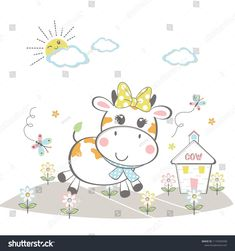 the cute cow in the beautiful garden vector illustration Doodles Kawaii, Goat Cartoon, Cow Illustration, Cow Vector, Cute Cartoon Girl, Cute Cows, Portfolio, Animal Design, Cute Baby Animals