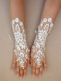 Long Ivory Wedding gloves Floral glove bridal by WEDDINGHome, $35.00