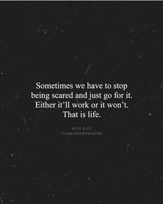 Sometimes we have to stop being scared and just go for it. Either it'll work or it won't.       That is life.