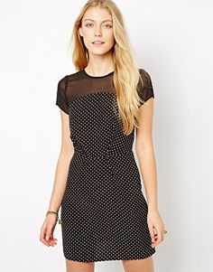 $41, Love Polka Dot Dress With Mesh Insert. Sold by Asos. Click for more info: https://lookastic.com/women/shop_items/198747/redirect