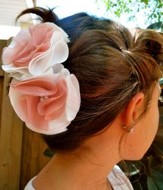 White and Pink Satin Flower Hair Clip with Pearl Accents. $3.00, via Etsy.