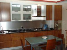 Cucina lineare classica l.435 cm, anta telaio ciliegio con pensili ...
