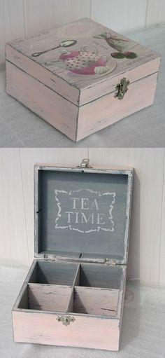 hand made, decoupage, herbaciarka, tea time, exclusive box