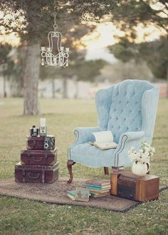 Shabby Chic Vintage Blue Chairs Outdoor Reception Wedding Reception Photos & Pictures - WeddingWire.com
