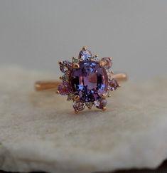 Purple sapphire ring, Round sapphire engagement ring, Rose engagement ring, Pink morganite engagement ring, Engagement rings sapphire, Rose gold diamond ring - LavendelSchneeflockering SaphirVerlobung -  #Purplesapphire #ring