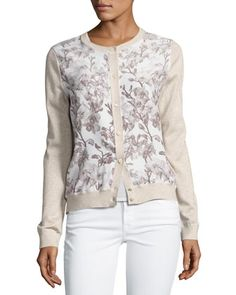 Floral+Silk-Front+Lurex®+Bomber+Cardigan+by+Neiman+Marcus+Cashmere+Collection+at+Neiman+Marcus.
