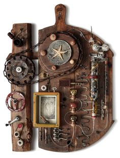 """""""The Machine of Dreams,"""" steampunk wall sculpture of found objects by Deivis Slavinskas (Lithuania) available on Saatchi Art. #steampunk #sculpture"""