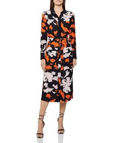 Reiss Cathleen Floral Print Midi Shirt Dress In Black Multi Reiss Fashion, Midi Shirt Dress, World Of Fashion, Dresses Online, Floral Prints, Dresses For Work, Clothes, Collection, Shopping