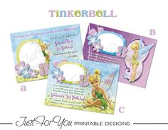 Tinkerbell Disney Fairies - Printable Birthday Invitation by 4UPrintableDesigns (Just For You Printable Designs) on Etsy