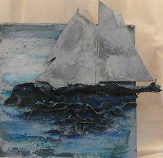Powertex met stone-artpoeder als achtergrond, mdf-zeilboot ook bewerkt met powertex en stone-art