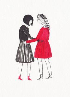 red & black girls by kaye blegvad