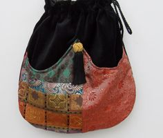 Elegant Patchwork Boho Bag  Drawstring Bag  by piperscrossing, $40.00