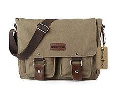 62b6d59a81 Bronze Times(TM) Mens Small Military Canvas Messenger Bag(ArmyGreen)  Satchel Handbags