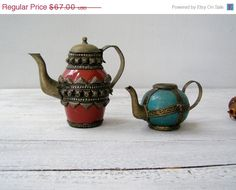 Oriental Brass Ceramic decorative Teapot set Pottery by MeshuMaSH
