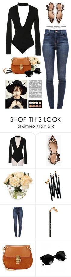 """Sassyselfie.com"" by yexyka ❤ liked on Polyvore featuring J.Crew, John-Richard, Bobbi Brown Cosmetics, J Brand, Chloé, NYX, jeans, sunglasses, trend and bodysuit"