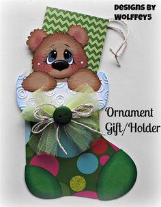 ELITE4U XMAS ORNAMENT GIFT/HOLDER paper piecing premade scrapbook page WOLFFEY5