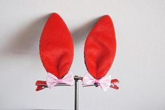 Red and Black rabbit ears hair accessory  Costume by SpunkyOnArt